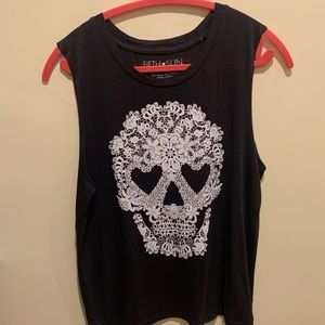 Floral Skull Muscle tank top